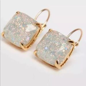 Kate Spade Pearl White Glitter Square Drop Earring